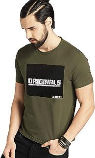 Leotude Regular Fit Half Sleeve Printed Tshirt for Men