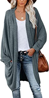 Women's Waffle Knit Batwing Long Sleeve Cardigan Loose...