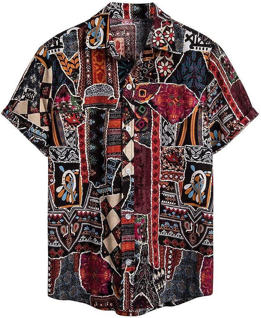 Men's Vintage Printed Cotton Linen Casual Buttons Henley Collar Shirt Short Sleeve Summer Hippie Hawaiian ShirtsTops