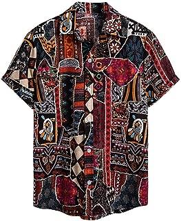 IHGTZS Men's Shirts, Ethnic Short Sleeve Casual Cotton Linen Printing Hawaiian Shirt Blouse