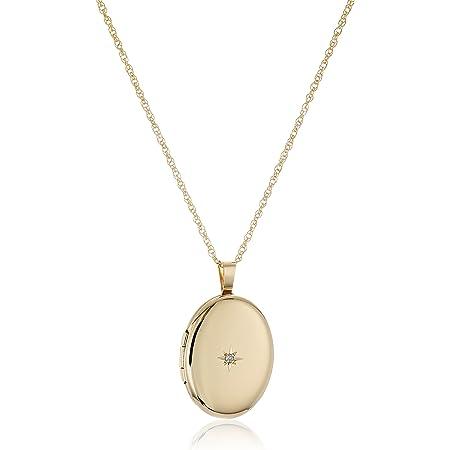 "14k Gold-Filled Polished Oval Pendant with Genuine Diamond Locket Necklace, 18"""