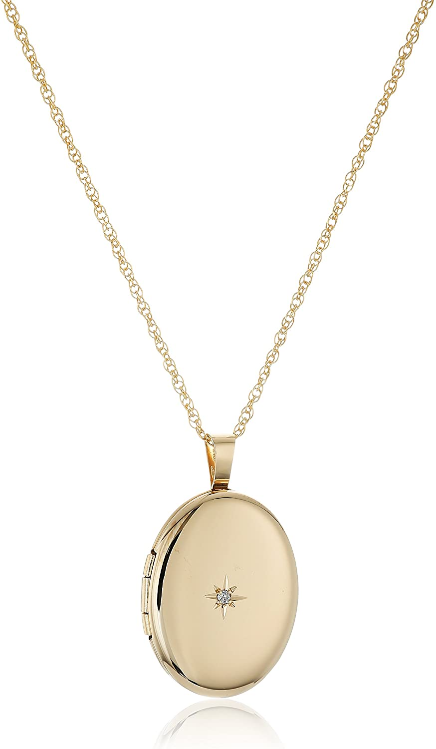 14k Yellow Gold-Filled Oval Locket with Diamond-Accent, 20