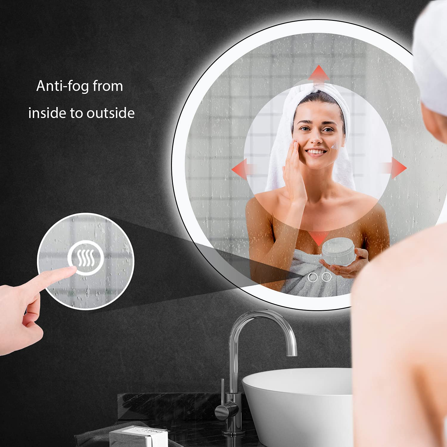 Buy 24 Inch Round Led Wall Mirror Black Framed Bathroom Vanity Mirror With Lights Anti Fog Dimmable Lighted Makeup Mirror Memory Touch Button Warm Light Daylight Cool White Online In Vietnam B08ryl9k52
