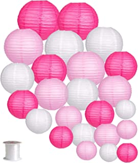 24pcs Round Paper Lanterns for Wedding Birthday Party Baby Showers Decoration Pink/White