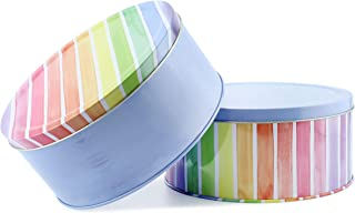 Cornucopia Cookie Tins (Set of 2, Blue and Rainbow); Round Baking and Cake Tins for Special Occasion and Holidays, 7.75-Inch Wide by 3.6-Inch Tall