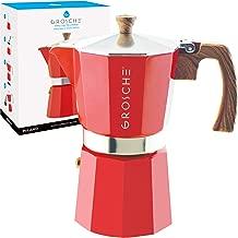 GROSCHE Milano Stovetop Espresso Maker Moka Pot 9 Cup, 15.2 oz, Red - Cuban Coffee Maker Stove top coffee maker Moka Italian espresso greca coffee maker brewer percolator