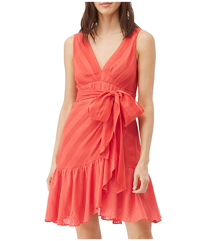 Rebecca Taylor  Sleeveless Stripe Wrap Dress (Red Coral) Womens Clothing