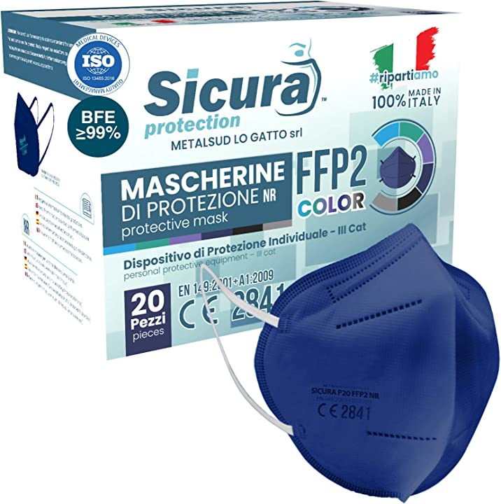 Mascherine ffp2 certificate ce italia colorate(BLU) . bfe ?99% made in italy - dispositivo medico -20 pezzi B08VS4Z59K