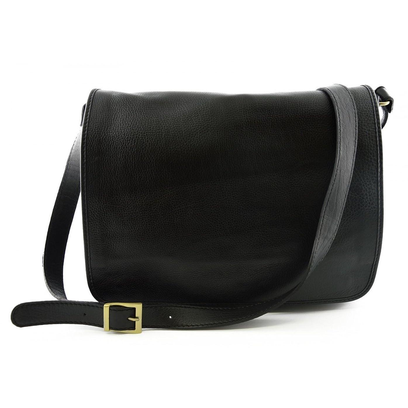 安定しましたエミュレートする狼Made In Italy Leather Messenger Bag Color Black - Man Bag