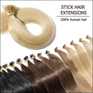 """Pre Bonded Cold Fusion Hairpiece I Tip Hair Extensions Human Hair Highlight Platinum Blonde 16 Inch Soft Straight Remy Hair Stick Shoelace Tips—16"""", 60, 50g, 100 Strands"""