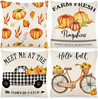 MOREE 4 Fall Decorative Pumpkin Pillow Covers 18x18inch Autumn Thanksgiving Cotton Blended Pillowcases for Car Sofa