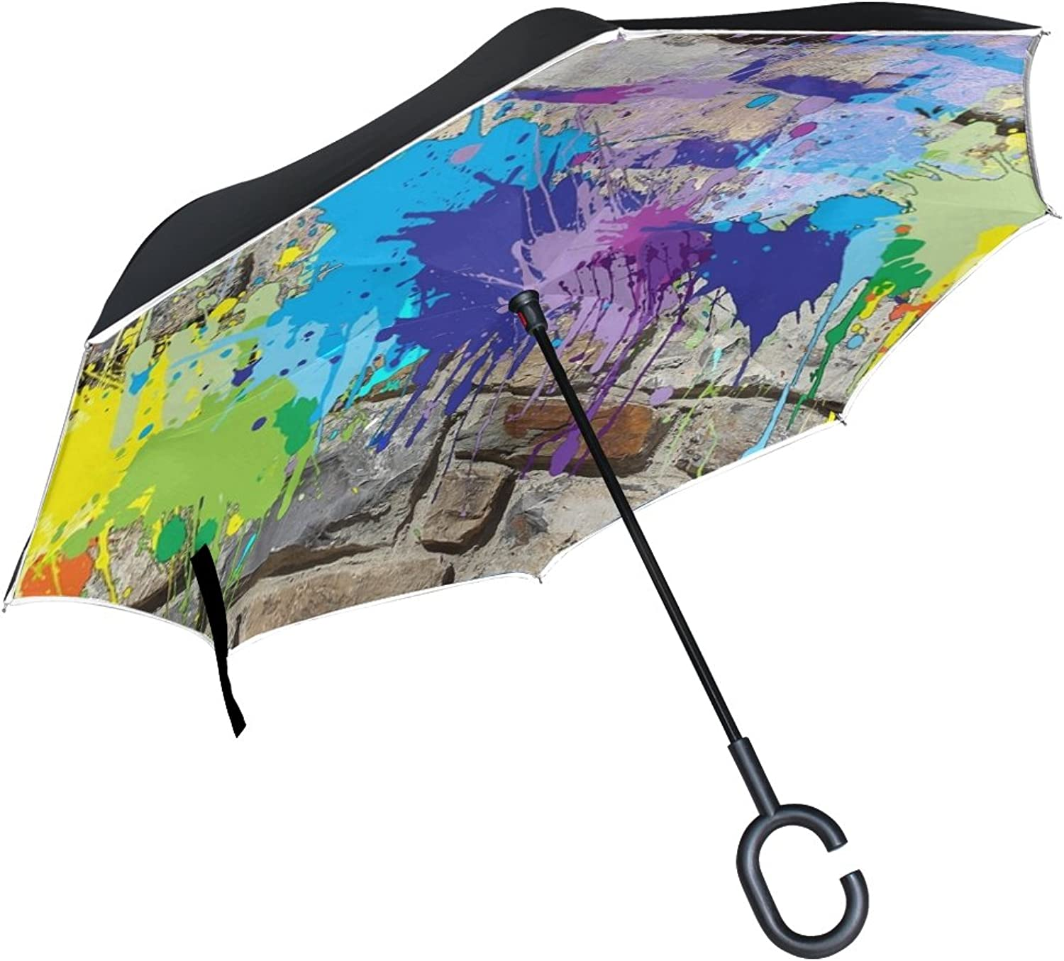Double Layer Ingreened Painting Wall Mural colors Graffiti Umbrellas Reverse Folding Umbrella Windproof Uv Predection Big Straight Umbrella for Car Rain Outdoor with CShaped Handle