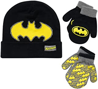 DC Comics Batman Reversible Hat and 2 Pair Mitten Cold Weather Set, Toddler Boys, Age 2-4