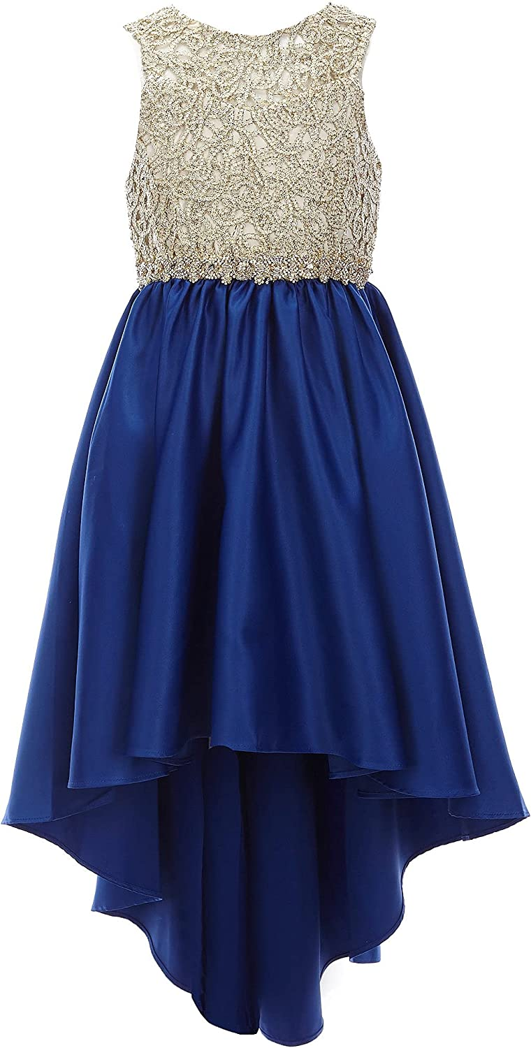 Rare Editions Girls 7-16 Gold Embroidered Royal Jeweled Mikado Dress