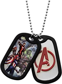 """Marvel Comics Men's Stainless Steel The Avengers Double Dog Tag Chain Pendant Necklace, 22"""""""