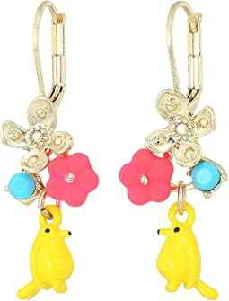 Bird and Multi-Colored Flower Drop Earrings