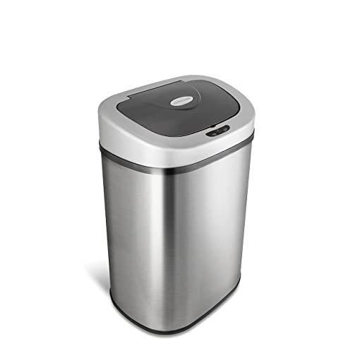 Ninestars Automatic Touchless Infrared Motion Sensor Trash Can With Stainless Steel Base Oval Silver