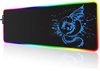 RGB Gaming Mauspad, großes erweitertes leuchtendes LED Mauspad mit 15 Beleuchtungsmodi und USB, glatte Oberfläche, wasserd...