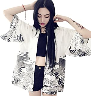 ZooBoo Women Japanese Kimono Cardigan - Harajuku Bathrobe Cardigan Sunscreen Clothes Pajamas Knitting Coat