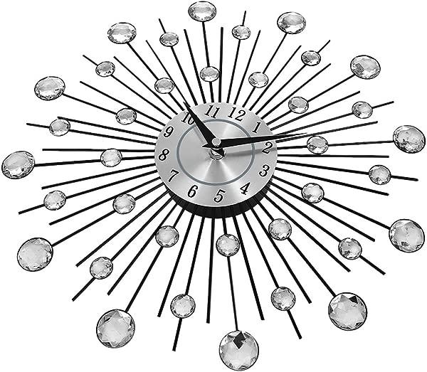 装饰水晶日晒大号挂钟奢华现代金属 3D 挂钟静音家居艺术装饰办公室装饰品礼物直径 13 英寸