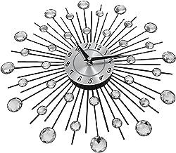Decorative Crystal Sunburst Large Wall Clock, Luxury Modern Metal 3D Wall Clock Silent for Home Art Decor Office Decorations Gift Diameter 13 inch