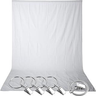 Neewer Pro, Fondo de 100% pura muselina para Estudio Fotográfico, con 5unidades abrazaderas de resorte, Blanco, 5 x 10 ft/1.5 x 3 m