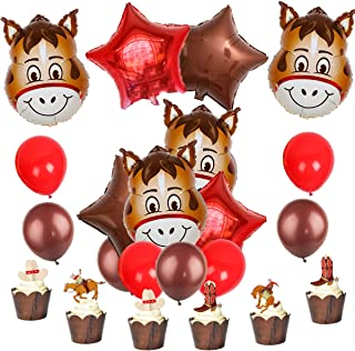 JOYMEMO Western Party Supplies Cowboy Decorations Horse Foil Balloons and Cake Toppers for Boys Birthday Baby Shower