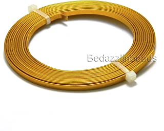6 Feet 3mm Wide x 1mm Thick Flat 18 Gauge Aluminum Wrapping Jewelry Craft Wire (Gold)