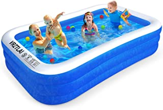 """VRZTLAI Family Inflatable Swimming Pool, Inflatable Lounge Pool for Kiddie, Kids, Adults, Infant, Toddlers, Easy Set Swimming Pool for Garden, Backyard, Outdoor Summer Water Party (120"""" X 72"""" X 22"""")"""