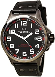 TW Steel Pilot TW421 Gray PVD titanium coated steel & Leather Watch - 48 mm