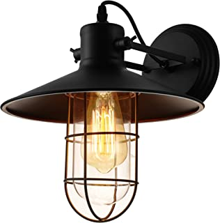 KWOKING Lighting Industrial Vintage Style 1 Light Wall Sconces Ceiling Lamp Antique Metal Copper Nautical Wall Sconce Wall Light Lamp Fixture with Cage Use E26/27 Bulb