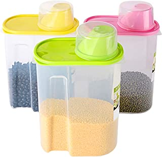 Basicwise Large BPA -Free Plastic Food Saver, Kitchen Food Cereal Storage Containers with Graduated Cap, Set of 3, Pink, G...