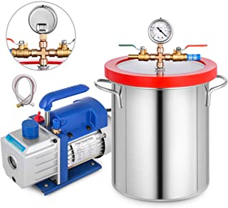 Bestauto 4 CFM Vacuum Pump 1/3 HP Vacuum Pump HVAC Stsinless Steel AC Vacuum Pump Kit Single-Stage Air Conditioning with 5 Gallon Vacuum Chamber(4 CFM Vacuum Pump + 5 Gallon Vacuum Chamber)