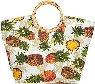 Küstenluder Damen Tasche Marla Ananas Bamboo Tiki Bag (Weiß/Cremefarben mit Ananas)
