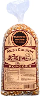 Amish Country Popcorn | 1 Lb Mushroom Kernels | Old Fashioned, Non GMO, Gluten Free, Microwaveable and Kosher with Recipe Guide (1 lb Bag)