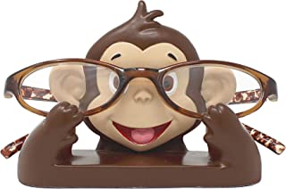 JewelryNanny Fun Animal Eyeglass Holder Stand for Kids Women - Securely Hold Kids Eyeglasses, Adult Reading Glasses Like Glasses Organizer for Desk, Bedside Nightstand - Monkey