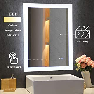 MIRPLUS LED Bathroom Backlit Vanity Mirror, Wall Mounted 24 x 32 Inch, Makeup Mirror with Touch Sensor for Warm White 3000K to Cool White 6000K Adjustable Color, Vertical or Horizontal Installation