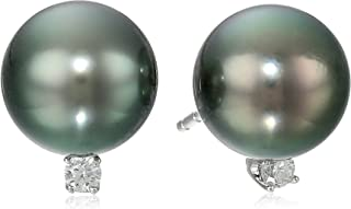 TARA Pearls Natural Color 9x10mm Tahitian Cultured Pearl and Diamond 14k White Gold Earrings.1cttw