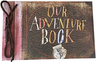 LINKEDWIN Our Adventure Book, Pixar Up Themed Scrapbook with Movie Postcards, Wedding and Anniversary Photo Album, Memory Keepsake, 11.6 x 7.5 inch, 80 Pages (Light Brown)