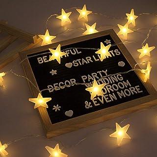 Lecone Luces de la Estrella Cuerda, Bateria cargada Decoraciones de estrellas,20 leds Estrellas decorativas blancas cálida...