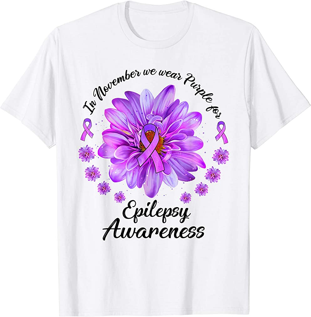 Daisy In November We Wear Purple For Epilepsy Awareness T-shirt