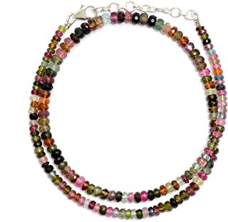 Myhealingworld Natural Multi Color Tourmaline Faceted Rondelle Gemstone Beads 16 Inch Beaded Necklace with Additional 2 inch Extension. Bead Size Varies from 2mm to 5mm.