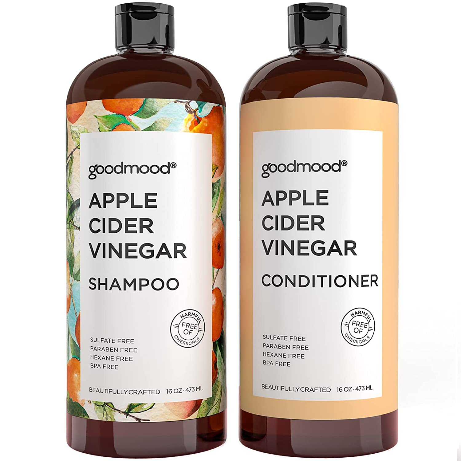 GoodMood Apple Cider Vinegar Shampoo and Conditioner For Hair Growth, Hair Loss Treatment For Men and Women with DHT Blockers