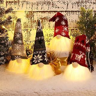 XAMSHOR Handmade Christmas Gnome Tomte with Light, Plush Elf Scandinavian Santa with Bendable Nordic Hat for Home Table De...