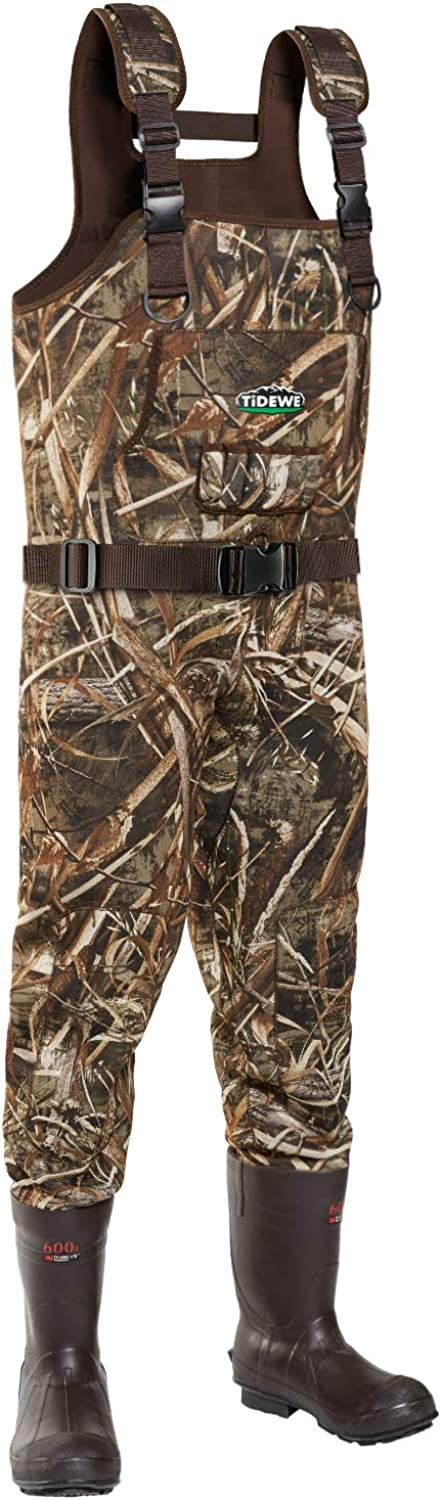 TideWe Chest Wader, Camo Hunting Wader for Men, Waterproof Cleated Neoprene Bootfoot Wader, Insulated Hunting & Fishing Wader Realtree MAX5 Camo (Buckle Suspenders Size 7)