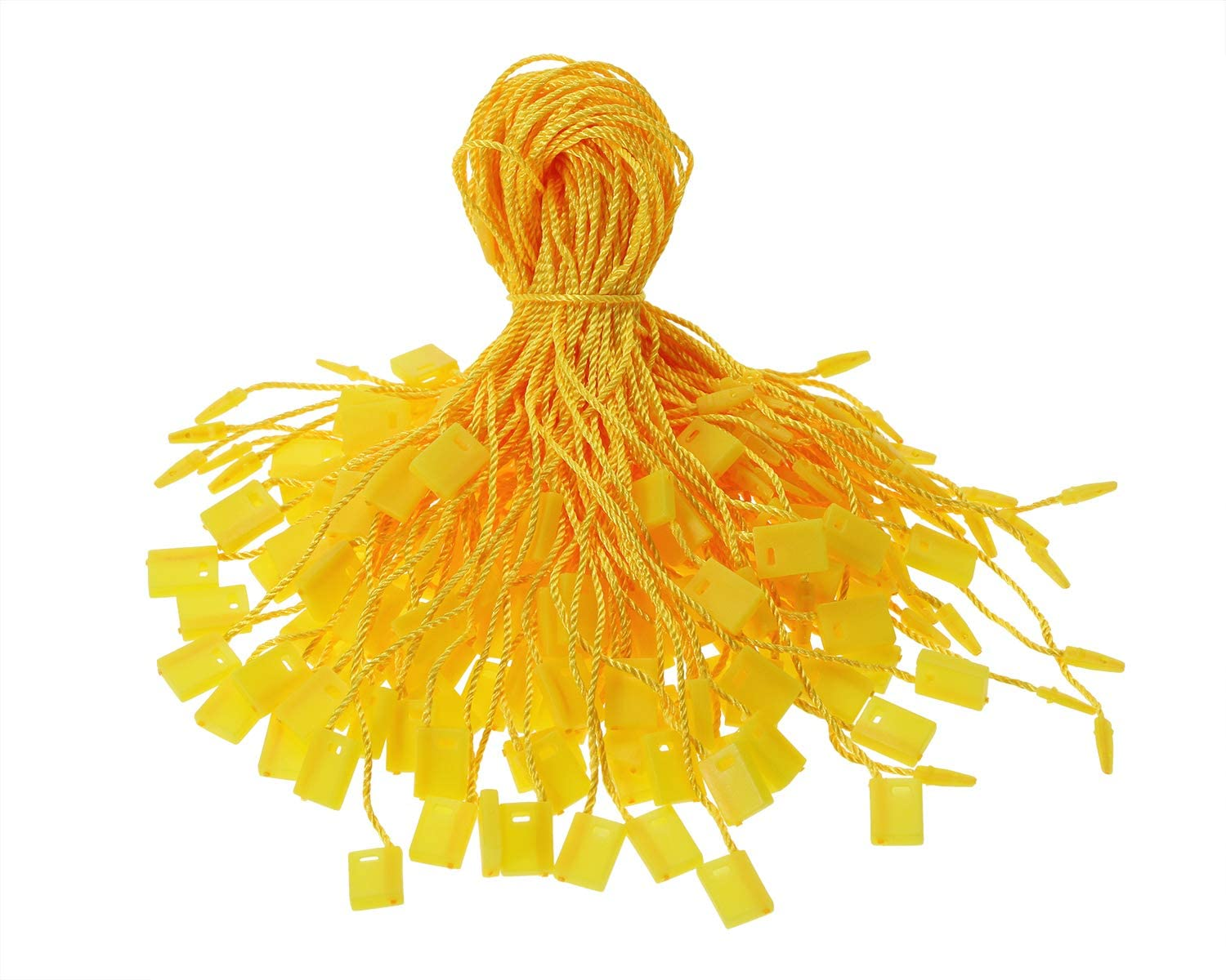 Tupalizy 7 Inch Nylon Hang Tag String for Clothes Gift Bags Price Tags Shoes Snap Lock Pin Loop Fastener Hook Ties Tag Rope for Belts Pocket Squares Luggage Label Attachment, 120PCS (Golden Yellow)