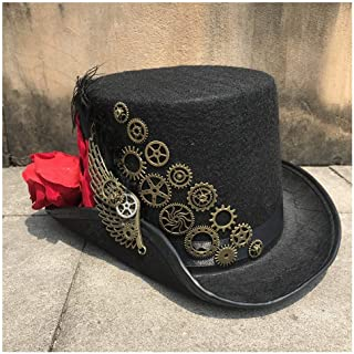 SHENTIANWEI New Women Handmade Steampunk Top Hat with Flower and Metal Gear Magic Performance Hat Party Hat Size 57CM