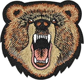 Great Originality Morale Patch Full Embroidery Military Patch for Caps,Bags,Backpacks,Clothes,Tactical Vest,Military Uniforms(Bear Head)