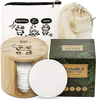 Panda Bamm- Reusable Makeup Remover Pads Multi-pack, 16 pcs - Zero Waste Reusable Cotton Rounds, Bamboo Storage Jar for Re...