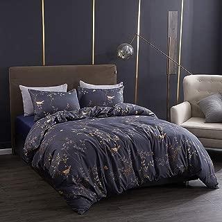 yuese Duvet Cover Set King, Soft Breathable Luxury Flowered Brushed Microfiber Quilt Comforter Cover Set, 3 Pieces Bedding Set (Grey & Gold Leaves, King)